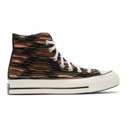 Converse Orange and Purple Wavy Knit Chuck 70 High Sneakers 168756C