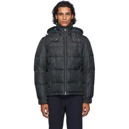 Etro Black and Grey Paisley Puffer Jacket 1s856 292
