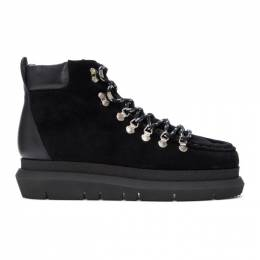 Sacai Black Suede Lace-Up Boots 20-02417M