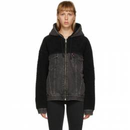Levi's Black Sherpa Hooded Hybrid Trucker Jacket 28875-0006