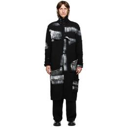 Yohji Yamamoto Black Wool Painted Long Cardigan HR-K87-188