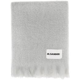 Jil Sander Grey Mohair and Wool Scarf JSPR902015_WR199600