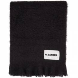 Jil Sander Navy Mohair and Wool Scarf JSPR902015_WR199600