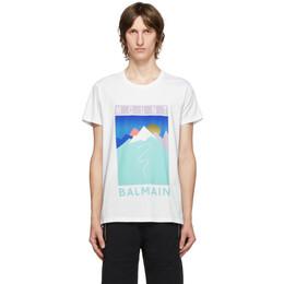 Balmain White and Multicolor Mountain Logo T-Shirt UH11601I314