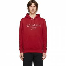 Balmain Red 3D Logo Hoodie UH13642I364