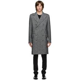 Balmain Grey and Black Herringbone Double-Breasted Coat UH18090W066