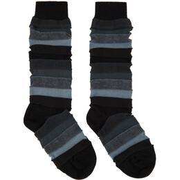 Issey Miyake Men Black Short Stepborder Socks ME08AI002