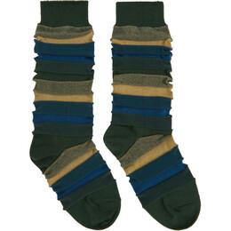 Issey Miyake Men Green Short Stepborder Socks ME08AI002