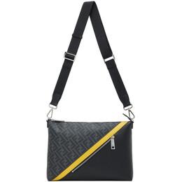 Fendi Black Medium Forever Fendi Messenger Bag 7VA470 A9XS