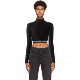 T By Alexander Wang Black Corduroy Crop Logo T-Shirt 4CC2201130
