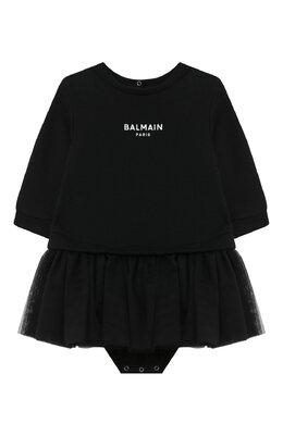 Хлопковое платье-боди Balmain 6N1340/NE060/12-36M
