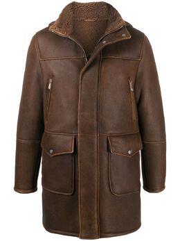 Eleventy shearling lined leather coat B75SPOB01SHY0B002