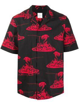 Paul Smith spaghetti print cuban collar shirt M1R028UE01242