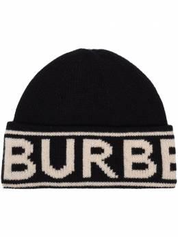 Burberry кашемировая шапка бини с логотипом вязки интарсия 8023982