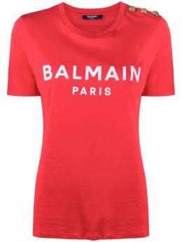 Balmain футболка с логотипом и пуговицами UF01350I321