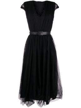 Fabiana Filippi многослойное платье с V-образным вырезом ABD220B7560000F067