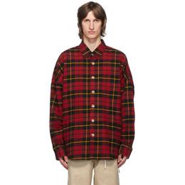 Mastermind World Red Flannel Oversized Shirt MW20S05-SH006-007