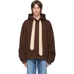 Mastermind World Brown Boxy Necktie Hoodie MW20S05-SW031-011