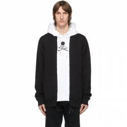 Mastermind World Black and White Patchwork Hoodie MW20S05-SW041-011