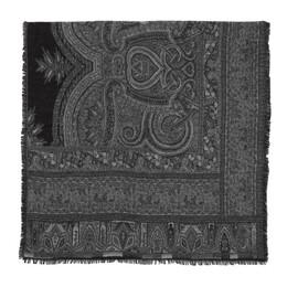 Etro Black Wool Jacquard Scarf 1h418 9506