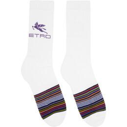 Etro White Striped Pegaso Socks 1t442 9524