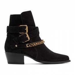 Amiri Black Suede Jodhpur Chain Boots W0F20507SU