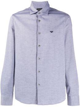 Emporio Armani рубашка узкого кроя с вышитым логотипом 6H1CP51NXVZ