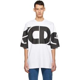 GCDS White Marco Logo Round T-Shirt CC94M021006