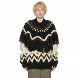 Sacai Beige and Black Nordic Knit Zip-Up Sweater 20-02401M