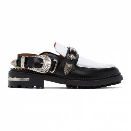 Toga Pulla Black and White Leather Mule Loafers FTGPW107019009