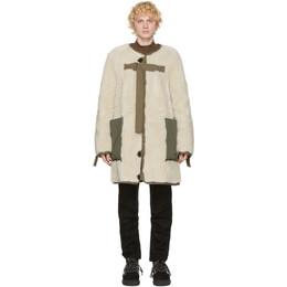 Sacai Reversible Khaki and Off-White Sherpa Coat 20-02398M