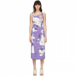 Ottolinger SSENSE Exclusive Purple and White Jersey Wrap Dress AW20SEDR11L