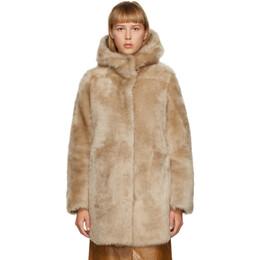 Yves Salomon Tan Shearling Hooded Coat 21W21WYM63586MRNX