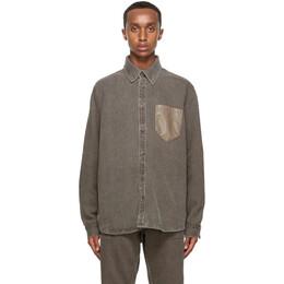 Nanushka Brown Linen Dome Shirt NM20PFSH01176