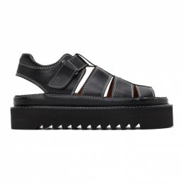 Ami Alexandre Mattiussi Black Leather Strap Sandals A20HS301.855
