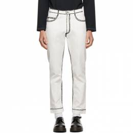 Daniel W. Fletcher Off-White Painted Edge Jeans JE03AW20DEWHT
