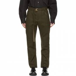 Sacai Khaki Wool Belted Trousers 20-20-02382M