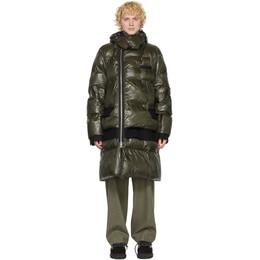 Sacai Khaki Nylon and Melton Wool Coat 20-02415M