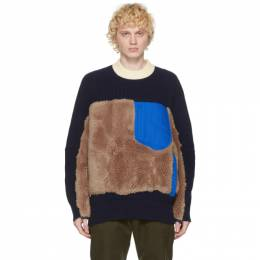 Sacai Navy and Brown Wool Sherpa Sweater 20-02400M