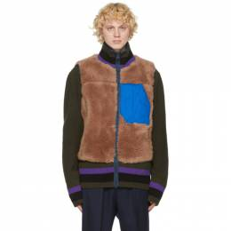 Sacai Brown Wool Panelled Vest 20-02399M