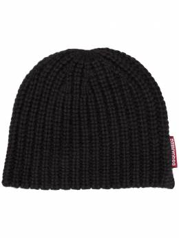 Dsquared2 шапка бини в рубчик с логотипом KNW002401A01595