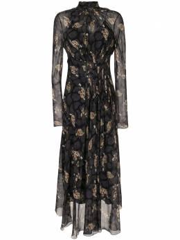 Salvatore Ferragamo платье миди с абстрактным цветочным принтом 13H063