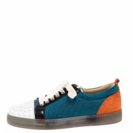 Christian Louboutin Multicolor Mesh, Suede and Leather Louis Junior Spikes Sneakers Size 37.5 328261
