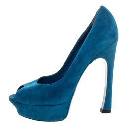Yves Saint Laurent Teal Blue Suede Palais Platform Peep Toe Pumps Size 39.5 327980