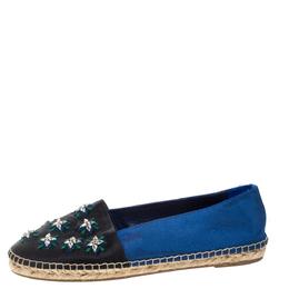 Dior Blue/Black Canvas Crystal Embellished Riviera Espadrille Flat Size 39 328246