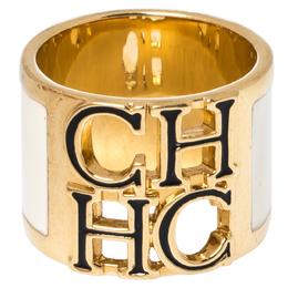 Ch Carolina Herrera Cream Enamel Wide Band Ring Size EU 56 327059