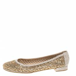 Stuart Weitzman Metallic Gold Glitter Perforated Leather and Canvas Ballet Flats Size 40 328183