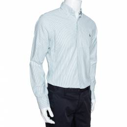 Ralph Lauren Green Striped Cotton Button Down Slim Fit Shirt M 326938