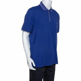 Loro Piana Indigo Stretch Cotton Pique Polo T-Shirt XXXL 327023