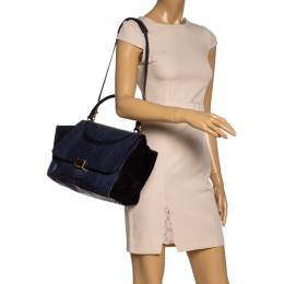Celine Blue/Black Python and Suede Small Trapeze Bag 325896